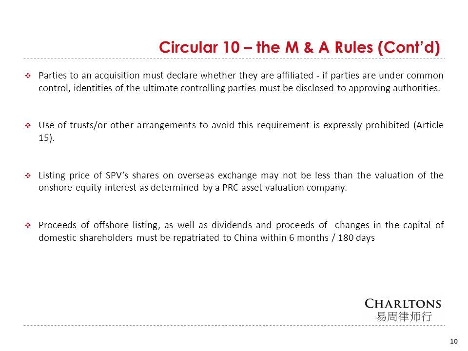 Circular 10 – the M & A Rules (Cont'd)