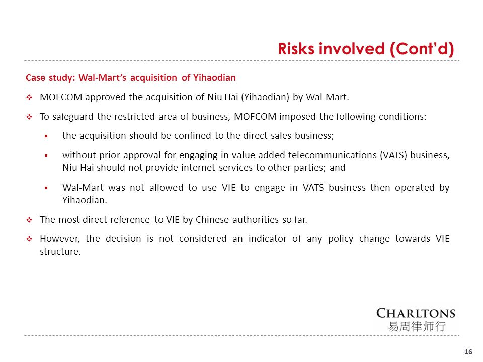 Risks involved (Cont'd)