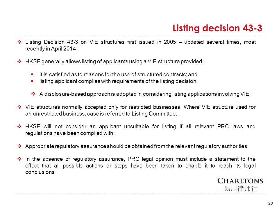 Listing decision 43-3