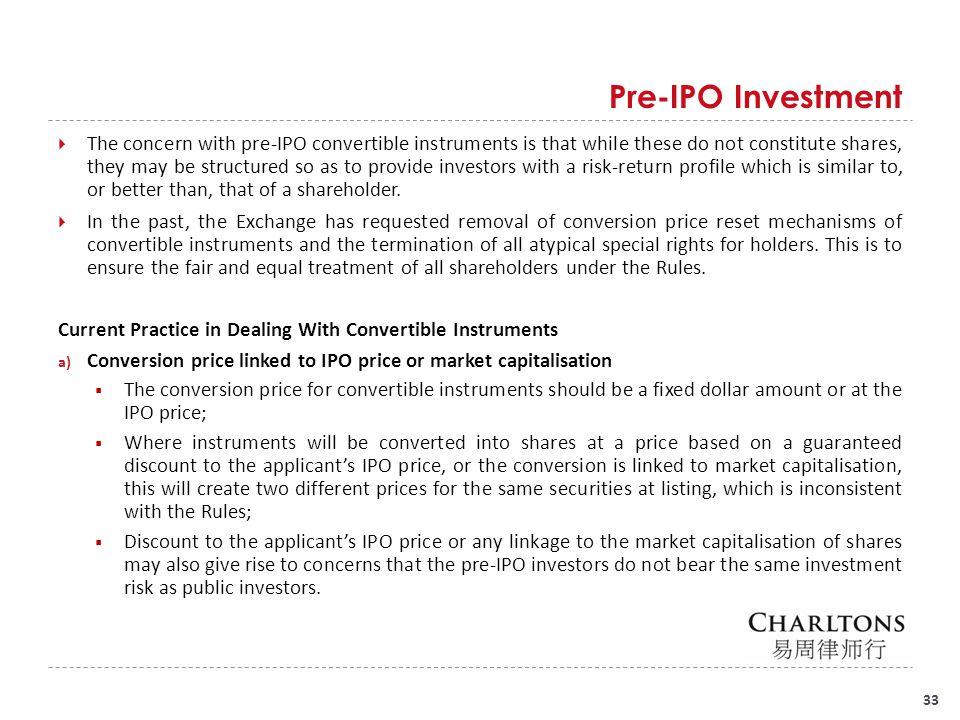 Pre-IPO Investment Conversion price reset