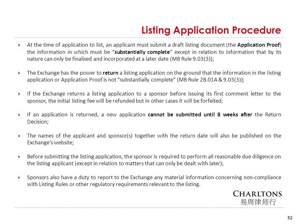Listing Application Procedure (Cont'd)