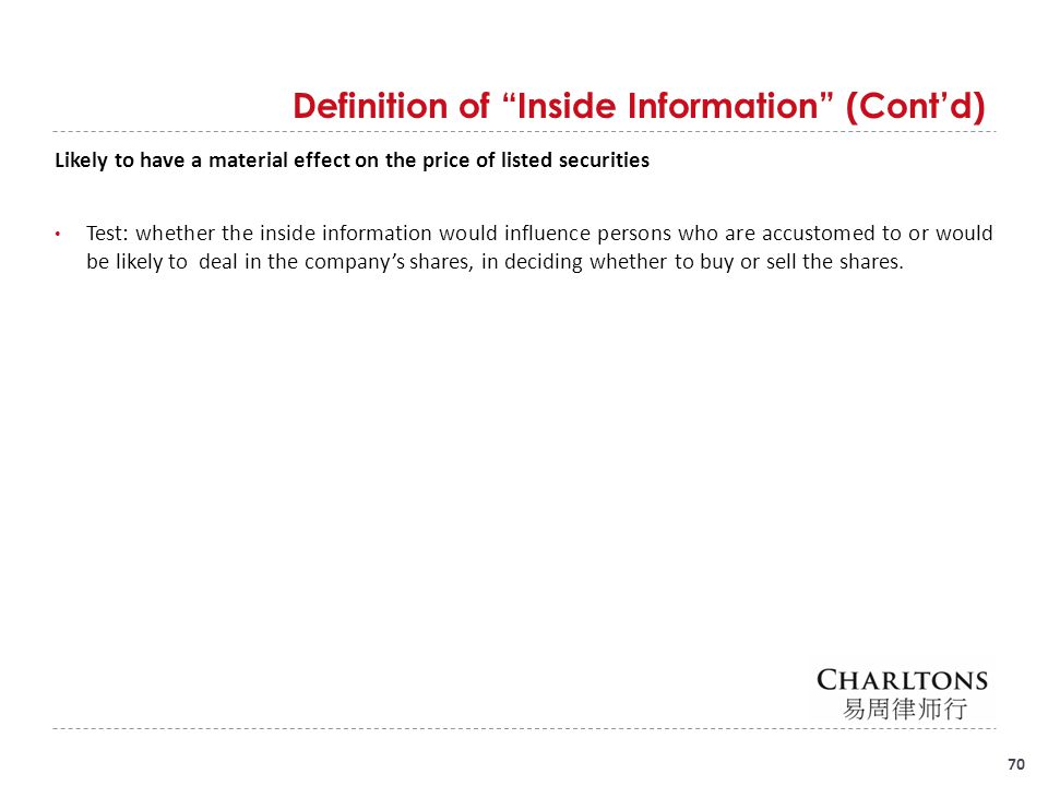 Examples of possible Inside Information (Non-Exhaustive)