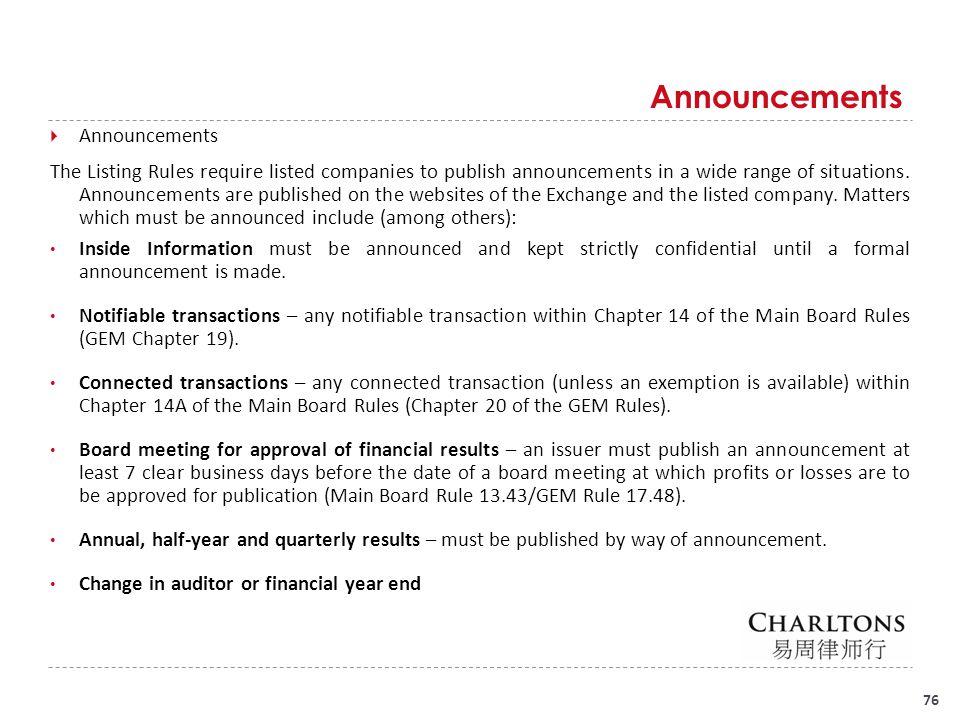 Announcements (Cont'd)