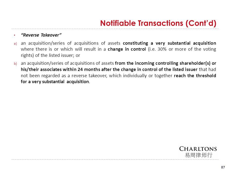Notifiable Transactions (Cont'd)