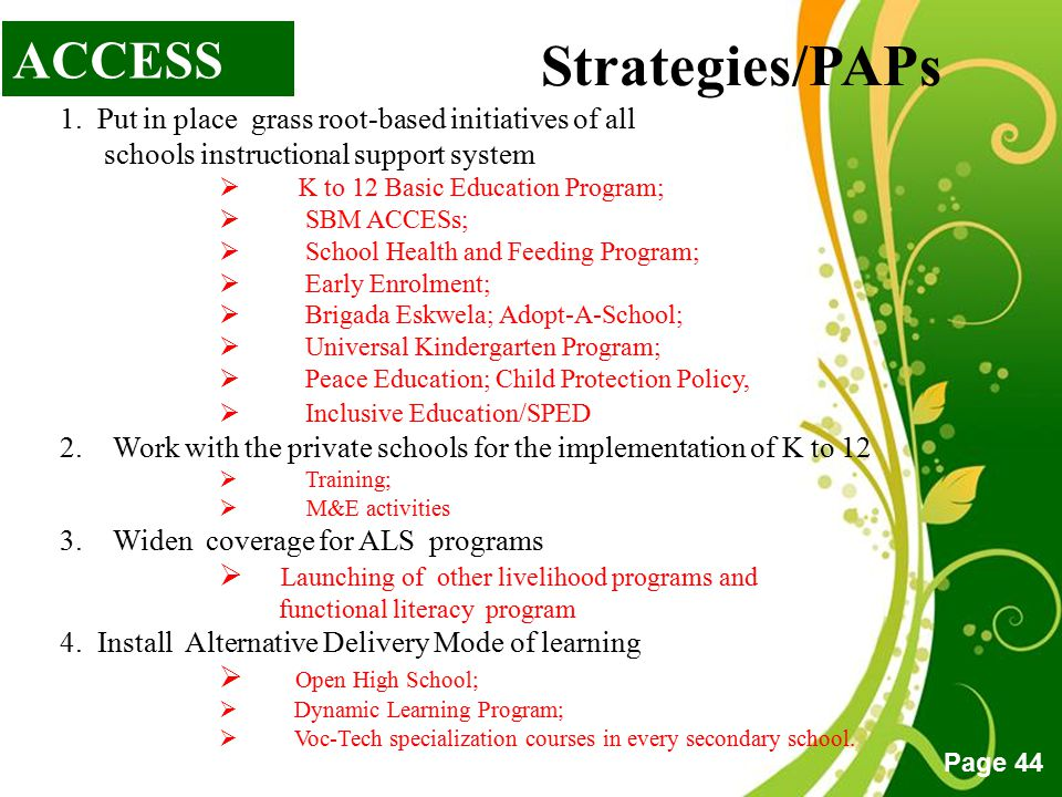 Strategies/PAPs ACCESS