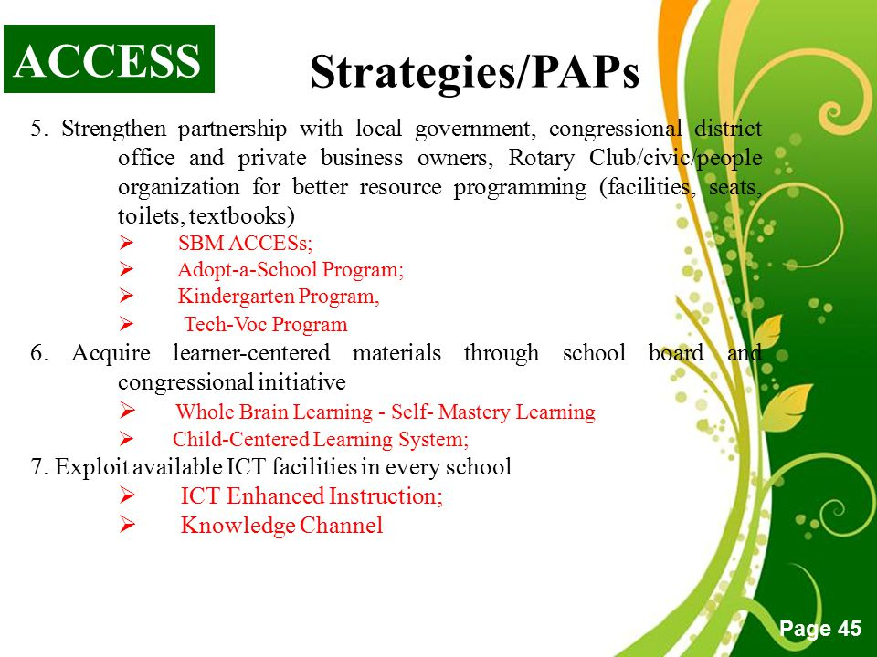 ACCESS Strategies/PAPs