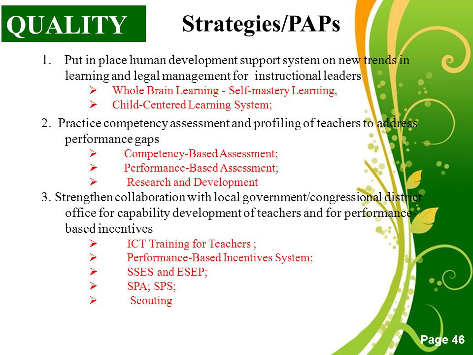 QUALITY Strategies/PAPs