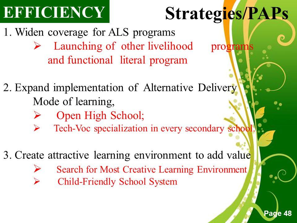 Strategies/PAPs EFFICIENCY 1. Widen coverage for ALS programs