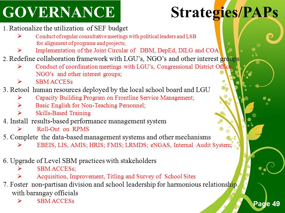 GOVERNANCE Strategies/PAPs