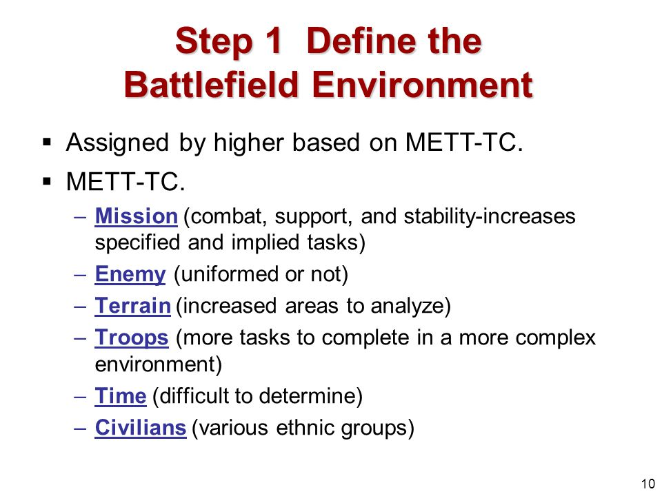 Step 1 Define the Battlefield Environment