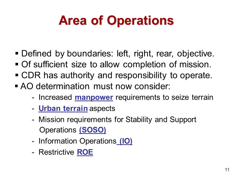 Area of Operations Defined by boundaries: left, right, rear, objective. Of sufficient size to allow completion of mission.