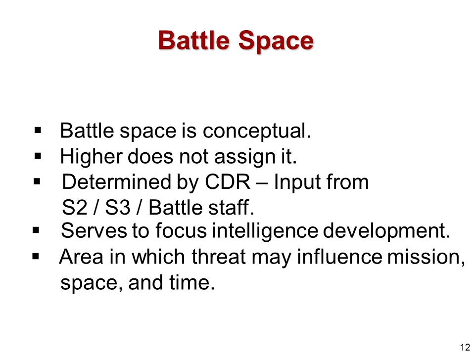 Battle Space Battle space is conceptual. Higher does not assign it.