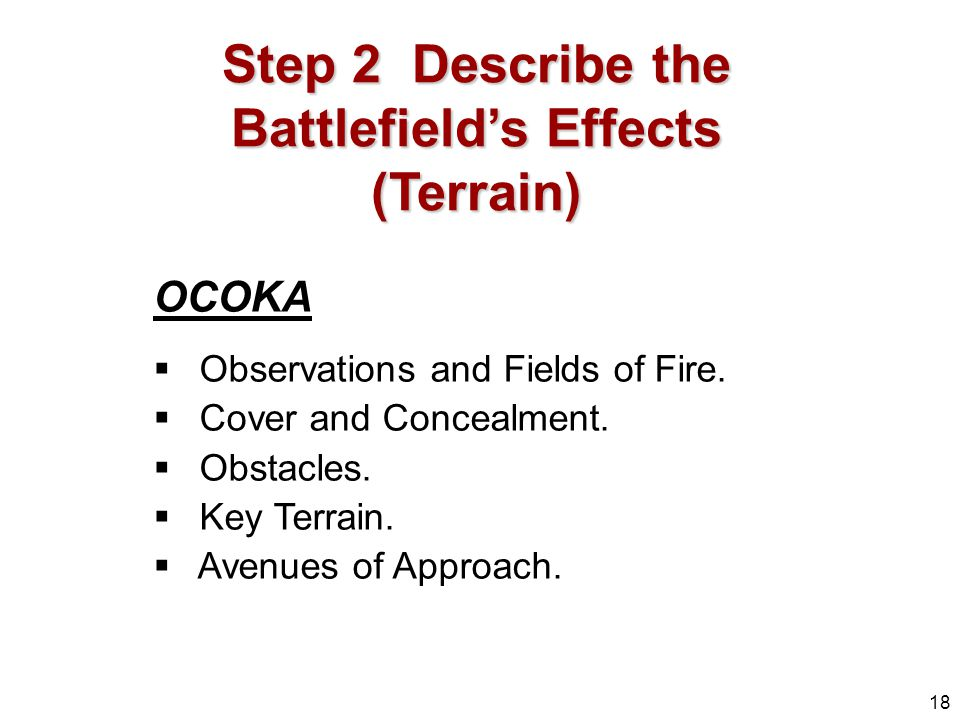 Step 2 Describe the Battlefield's Effects (Terrain)