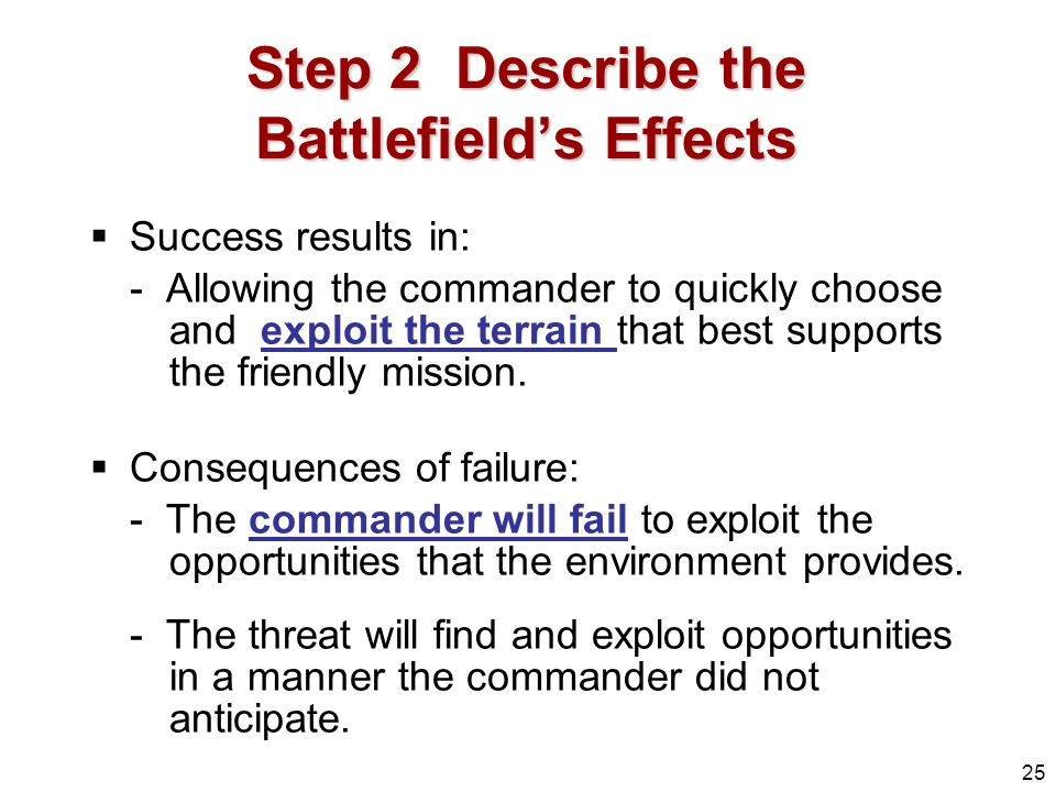 Step 2 Describe the Battlefield's Effects