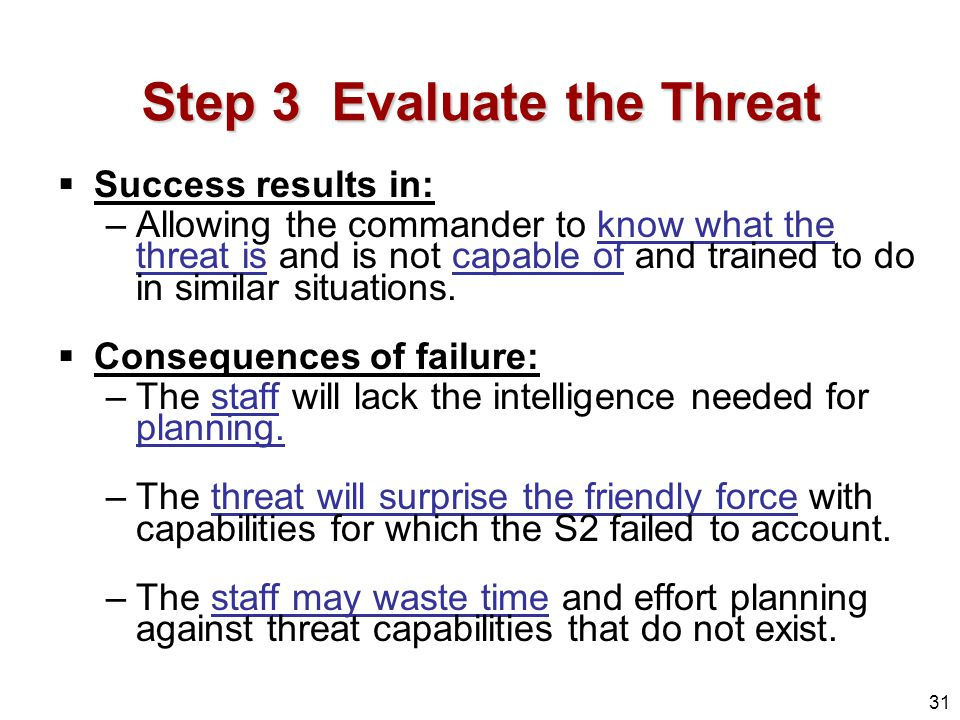 Step 3 Evaluate the Threat