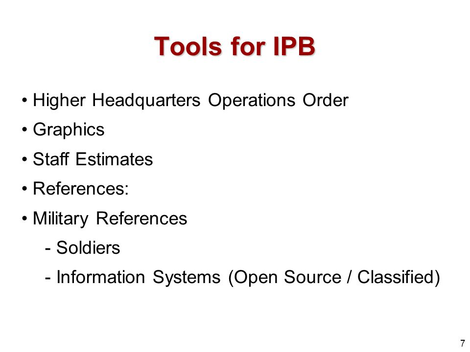 Tools for IPB Higher Headquarters Operations Order Graphics