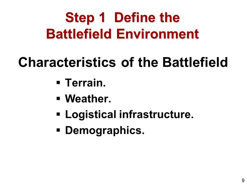 Characteristics of the Battlefield