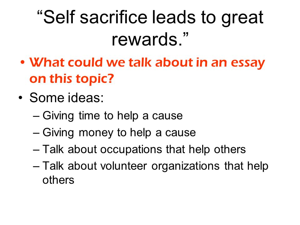 Importance of Sacrifices