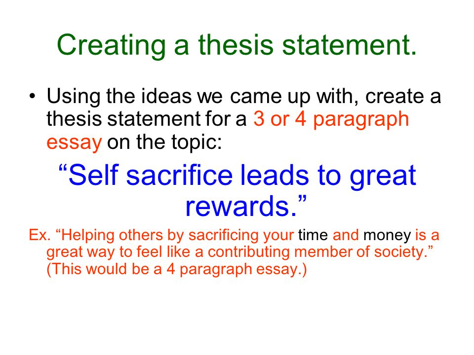 Examples of thesis statement for an Narrative essay