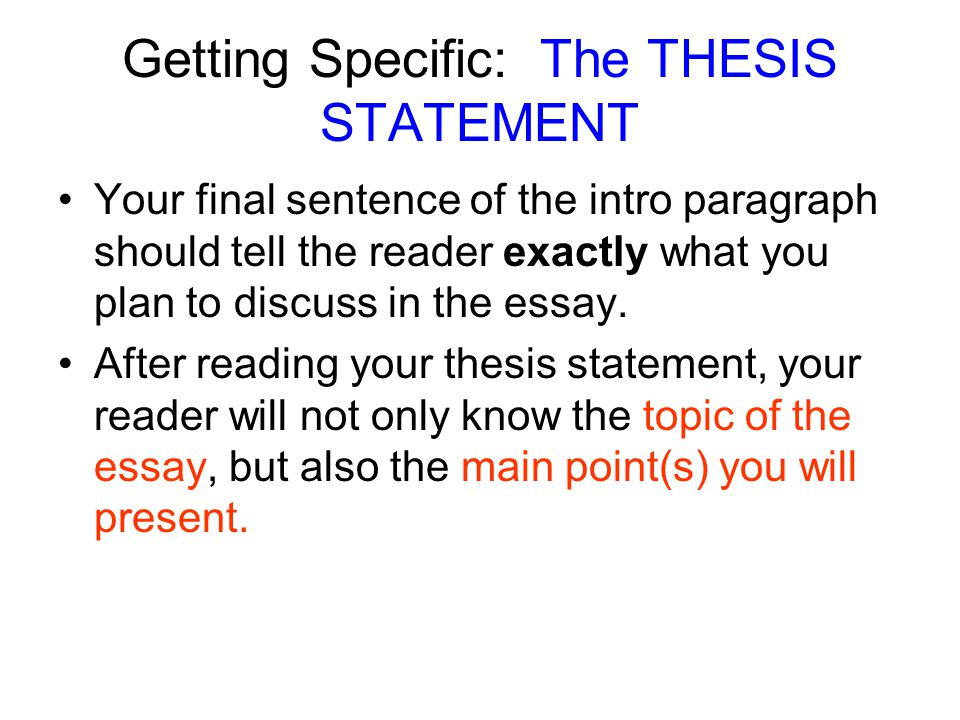 the main point essay Paragraphs must be strong effective paragraphs should: contain only one main idea (break up paragraphs that contain 2 or more) clearly support your thesis statement begin with a clear main point, then use facts, your.