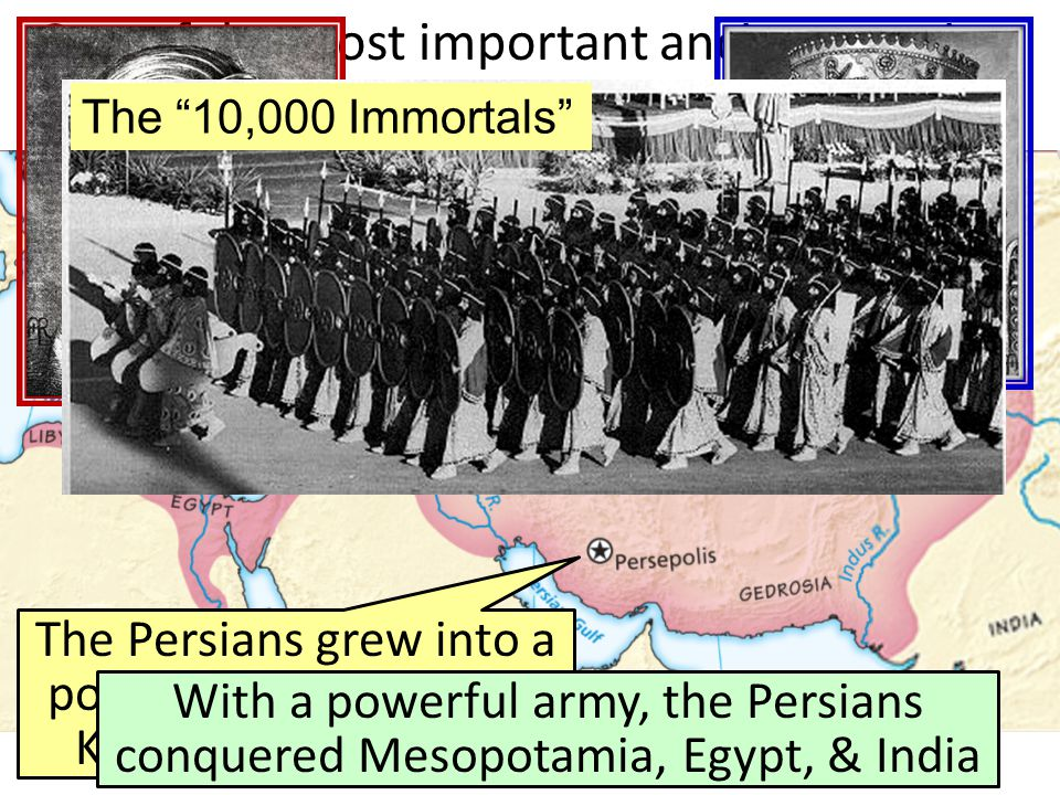 The Persians grew into a powerful empire under Kings Cyrus & Darius