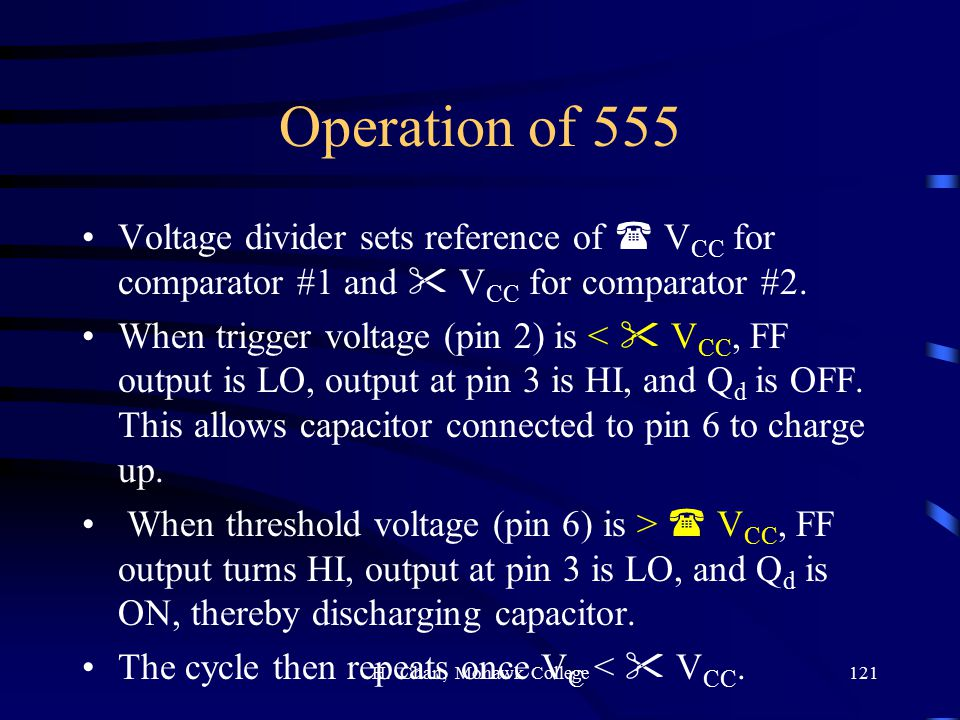 Operation of 555 Voltage divider sets reference of  VCC for comparator #1 and  VCC for comparator #2.