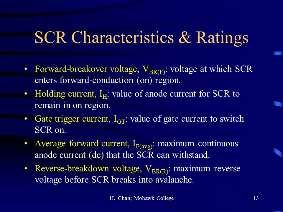 SCR Characteristics & Ratings