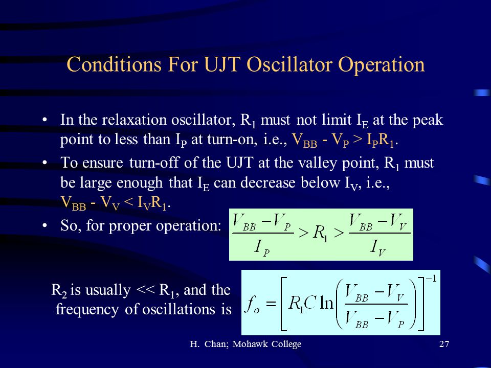 Conditions For UJT Oscillator Operation