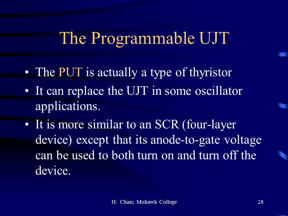 The Programmable UJT The PUT is actually a type of thyristor