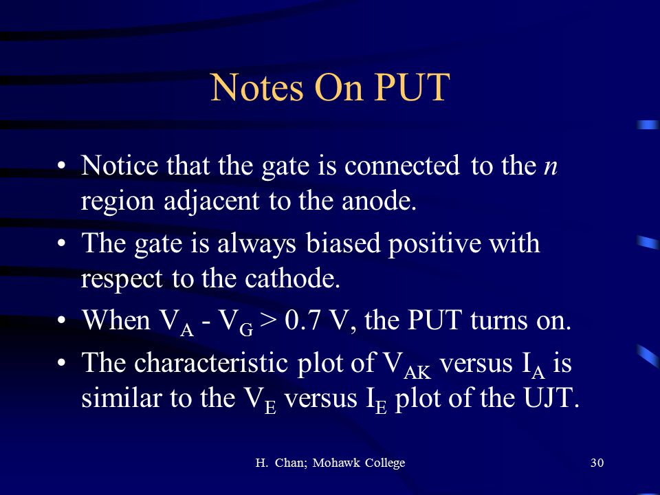 Notes On PUT Notice that the gate is connected to the n region adjacent to the anode.