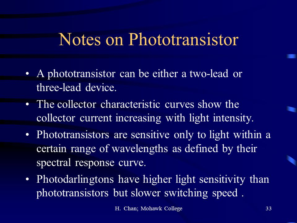 Notes on Phototransistor