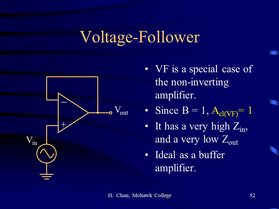 Voltage-Follower VF is a special case of the non-inverting amplifier.