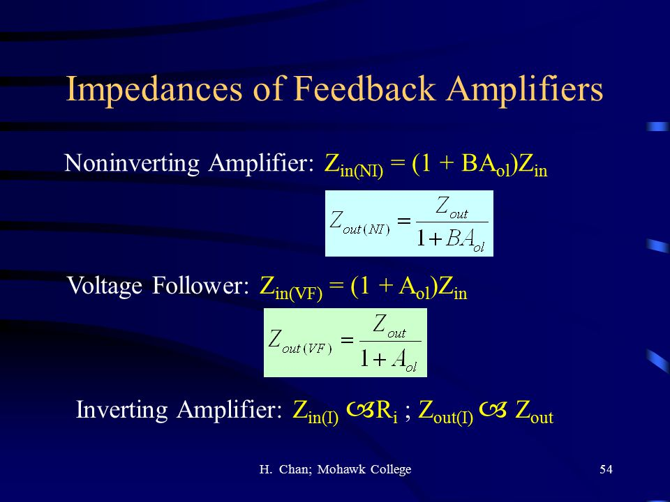 Impedances of Feedback Amplifiers