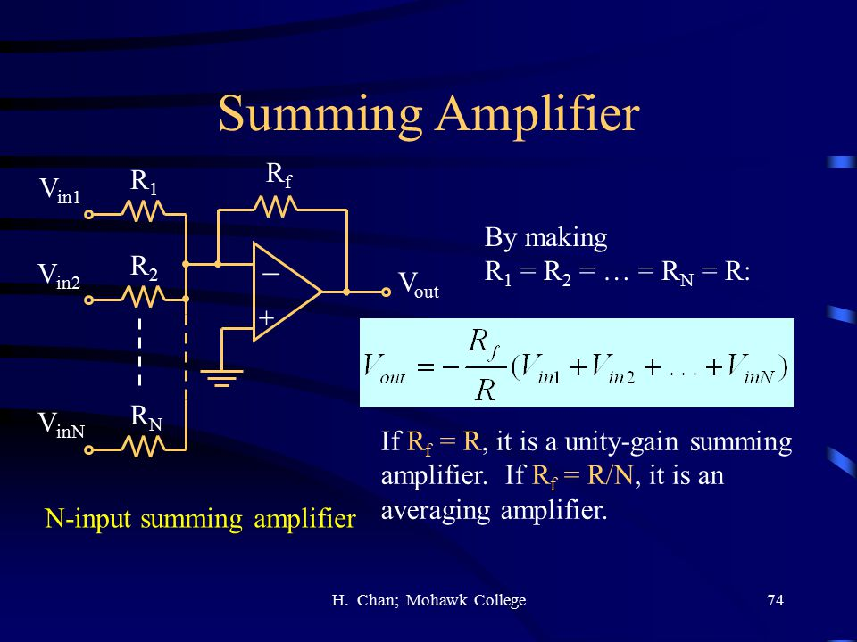 Summing Amplifier - Rf R1 Vin1 By making R1 = R2 = … = RN = R: R2 Vin2