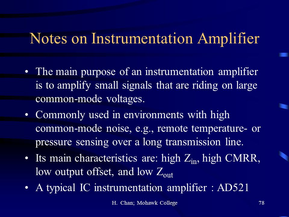 Notes on Instrumentation Amplifier
