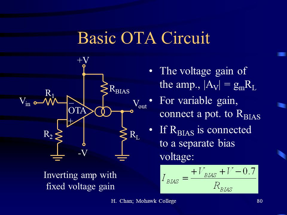 Basic OTA Circuit The voltage gain of the amp., |AV| = gmRL