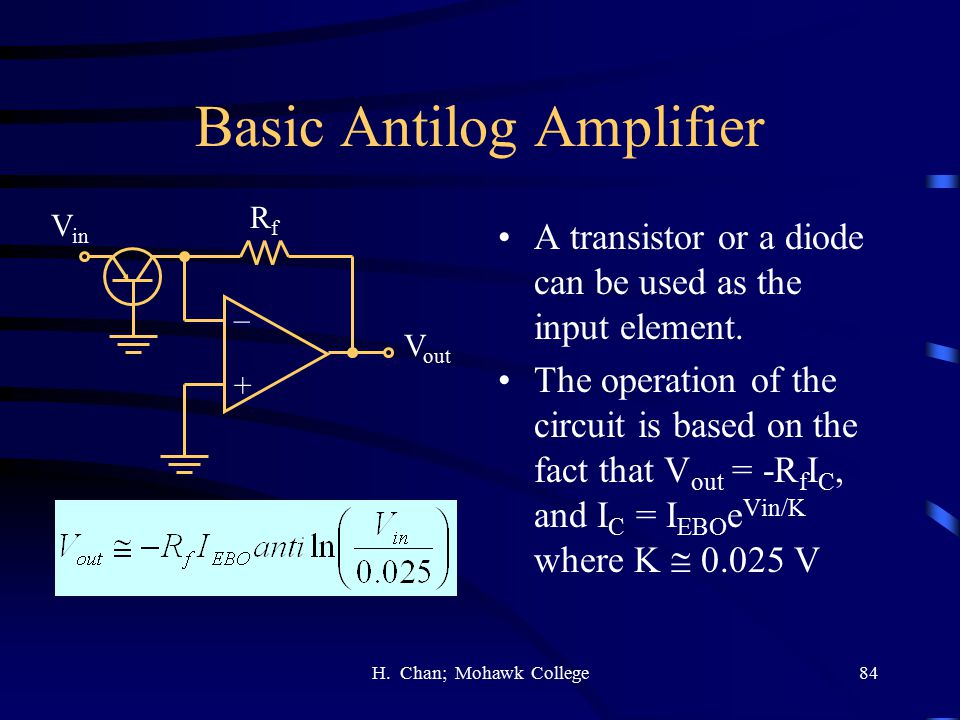 Basic Antilog Amplifier