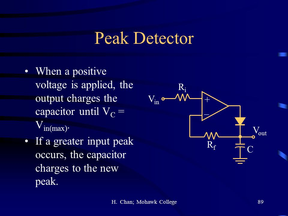 Peak Detector When a positive voltage is applied, the output charges the capacitor until VC = Vin(max).