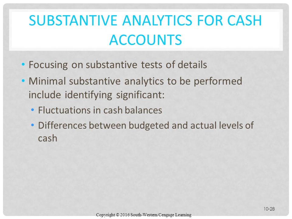Substantive Analytics for Cash Accounts