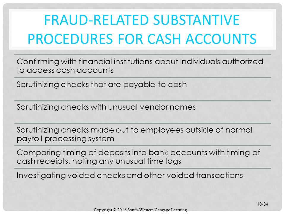 Fraud-Related Substantive Procedures for Cash Accounts