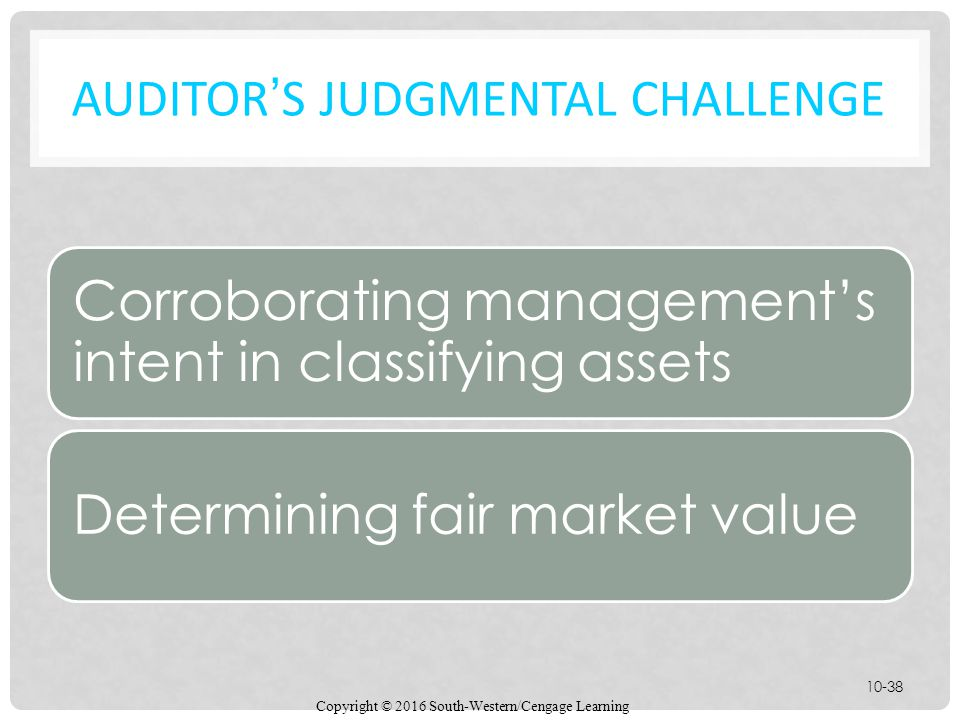 AUDITOR'S JUDGMENTAL CHALLENGE