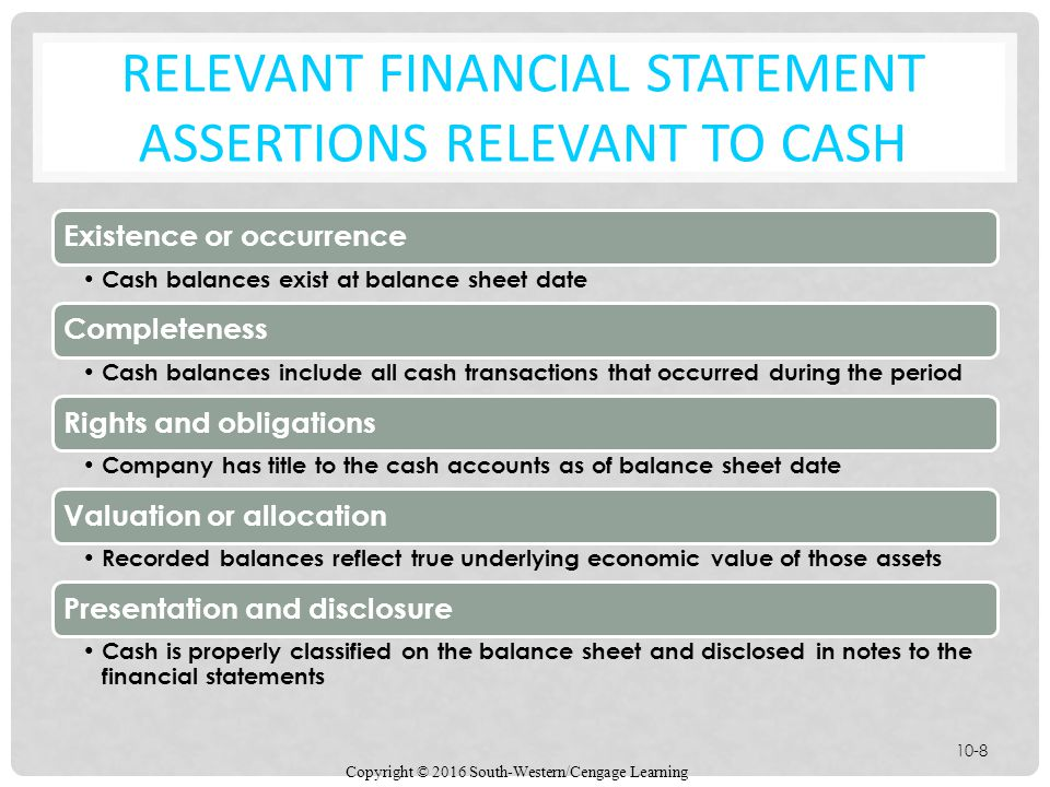Relevant Financial Statement Assertions relevant to cash