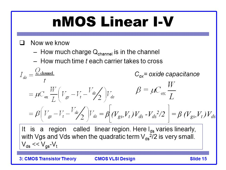 nMOS Linear I-V = β (Vgs-Vt )Vds -Vds2/2 = β (Vgs-Vt )Vds Now we know