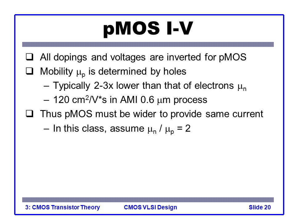 pMOS I-V All dopings and voltages are inverted for pMOS