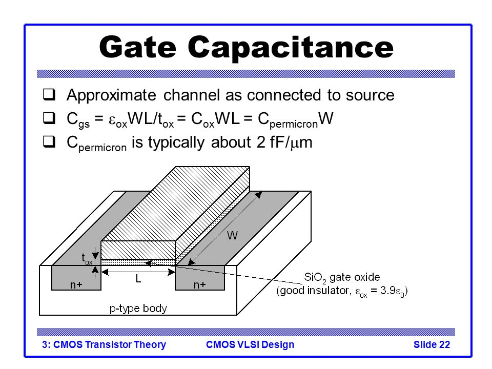 Gate Capacitance Approximate channel as connected to source