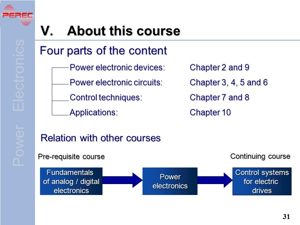 About this course Four parts of the content