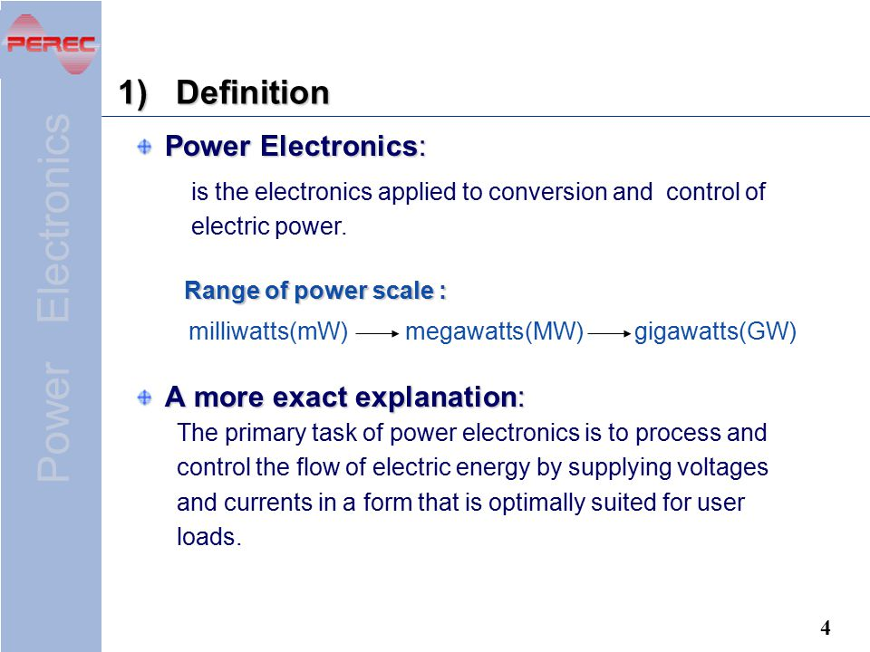 Definition Power Electronics: