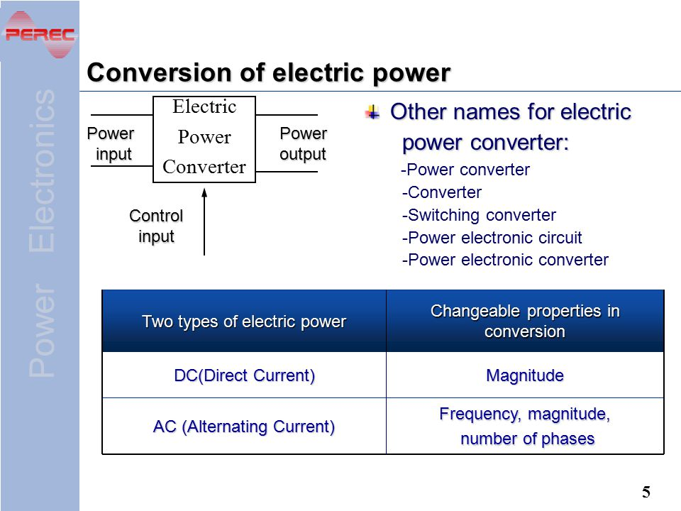 Conversion of electric power
