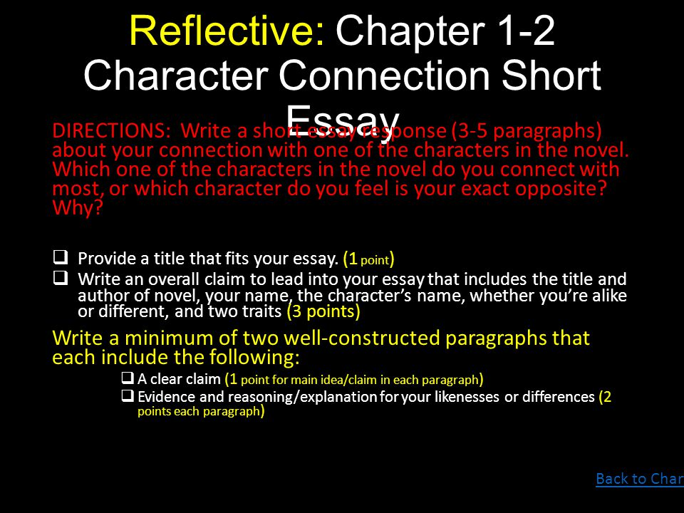 chapter 1 2 essay 2 what are the differences between writing conclusions to essays  after this,  you need to build a bridge linking this chapter with the next one.