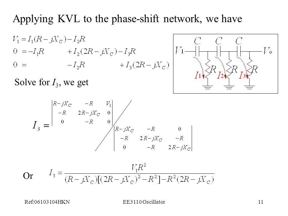 Applying KVL to the phase-shift network, we have